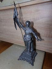 Statue en Régule XIX°s de Jeanne D'Arc à l'Etendard Spelter Sculpture 19th C