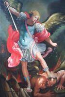 ARCHANGEL DEFEATS THE DEVIL; SIGNED FRANCOUS REGAUD OIL ON CANVAS