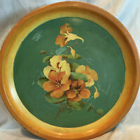 "Collectible Vintage  Hand Painted Metal Tole Tray 12-3/4"" Flowers Design"