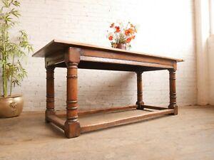 6ft Vtg Antique Style Charles I or II Jacobean Revival Oak Kitchen Dining Table