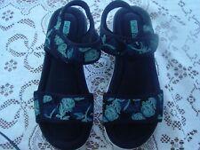 Women's ryka ortholite memory foam sandal black and turquoise size 9