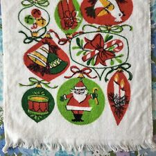 Vintage Christmas Hand Towel by Franco Cute Xmas Ornament Print Dish Towel