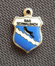 Vintage BAD SCHWALBACH Germany silver enamel travel bracelet shield charm