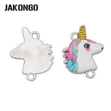 5pcs Silver Enamel Unicorn Connector for Making Bracelet Jewelry Accessories DIY