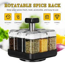 8 Jars Rotating Spice Rack Carousel Kitchen Storage Holder Condiments
