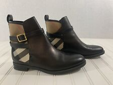 Burberry Womens Size 37.5 Leather Flat Ankle Boots House Check Black