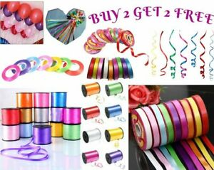 BALLOON CURLING RIBBON - ALL COLOURS - PRE-CUT IN 2 MTR LENGTHS OR 50 M ROLL