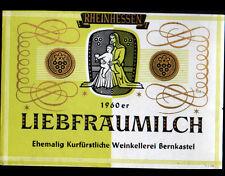 """ETIQUETTE ANCIENNE de VIN """"LIEBFRAUMILCH"""" de BERNKASTEL ALLEMAGNE en 1960"""