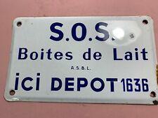 ancienne plaque émaillée de 25x15cm  ,-  dépot boites de lait - lot 99