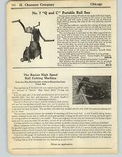 1925 PAPER AD Railroad Portable Hand Power Rail Saw Cutter Racine High Speed