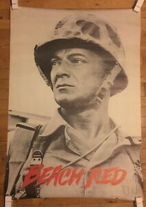Beach Red Vintage Poster Soldier WWII Movie Memorabilia 1960's Pin-up Army 1967