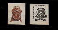 1765 Stamp Act Stamps Reprints On Genuine Original Period 1760 Paper