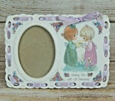 Vintage Precious Moments Sharing The Gift of Friendship Porcelain Picture Frame