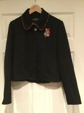 Oilily Black Zip-Up Collared Jacket With Embroidered Bird, Size 36 (US Size 6)