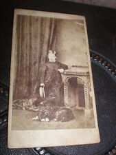 Cdv old photograph boy with dog by Knott at Oldham c1860s