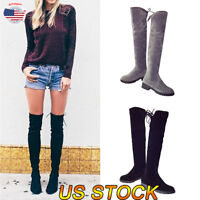 Womens Ladies Thigh High Over Knee Suede Boots Long Lace Up Stretchy Shoes Boots