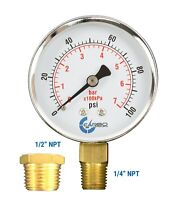 """Well Pressure Gauge 100 PSI, Chrome Plated Steel Case, 1/4"""" to 1/2"""" NPT Adapter"""