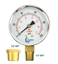 "Well Pressure Gauge 100 PSI, Chrome Plated Steel Case, 1/4"" to 1/2"" NPT Adapter"