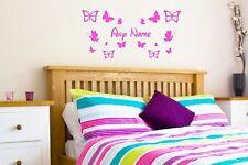 Personalised Name Butterfly Wall Art Custom Girls Bedroom Vinyl Kids Sticker
