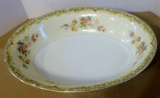 ESCO CHINA  Japan  Tan Green Border Floral Spray  Oval Serving Bowl 10""
