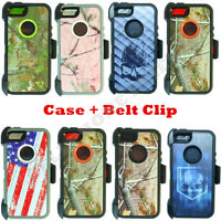 For iPhone 5/5S/SE Defender Camo Case Cover (Belt Clip Fits OtterBox)