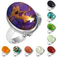 925 Sterling Silver Gemstone Ring Handmade Jewelry Size 5 6 7 8 9 10 11 12 bG728
