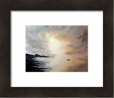 watercolour painting seascape, landscape, lake district, original,boats,water,