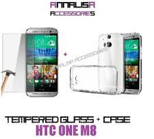 CUSTODIA COVER + PELLICOLA VETRO TEMPERATO HTC ONE M8 M8S SILICONE TRASPARENTE