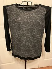 Women's Clothing French Laundry Black Gray Floral Blouse Shirt Top Size L