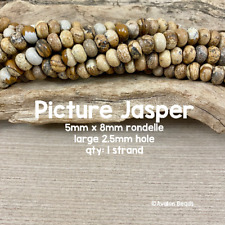 Picture Jasper Large Hole Rondelle Gemstone Beads - 5mm x 8mm