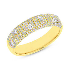 0.63 Tcw 14K Yellow Gold Natural Round Real Floating Diamond Pave Dome Ring Band