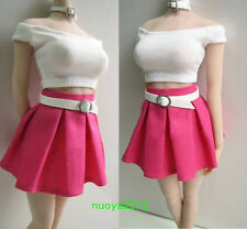 """1:6 Scale PL55 Female Action Figures Clothing Toy Skirt T-Shirt Set F/12"""" Girl"""