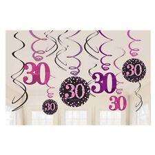 AMSCAN 9900597 - Geburtstag & Party - 12 Deko-Spiralen 30. sparkling pink