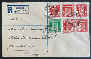 1941 Guernsey England German Occupation Registered Cover To St Helier Jersey
