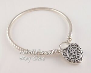 REGAL HEART PADLOCK Authentic PANDORA Silver SMOOTH Bracelet 597602 PICK Sz NEW!