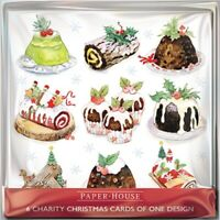 Pack of 6 Christmas Puddings Charity Christmas Cards Supports Multiple Charities