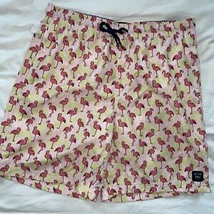 Spicy Tuna LARGE LINED Mens Pink Flamingo Palm Trees Swim Shorts Trunks