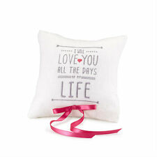 I Will White Linen Wedding Ring Bearer Pillow