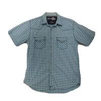 Wrangler 20X Pearl Snap Shirt Womens Sz L Large Green Short Sleeve Button Front
