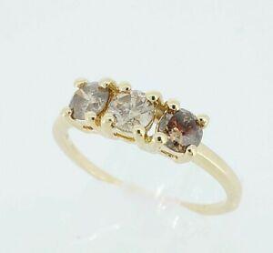 Beautiful 9K 9ct Gold & 0.50ct Champagne Diamond Trilogy Engagement Ring UK M