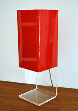 Mid Century Modern unique geometric red & clear lucite acrylic table lamp 1970's