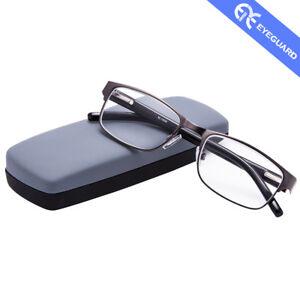 EYEGUARD Reading Glasses Readers Metal Frame Deluxe Rectangular Gun Business