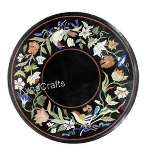 18 Inches Round Marble Coffee Table Top Unique Floral Design Bed Side Table