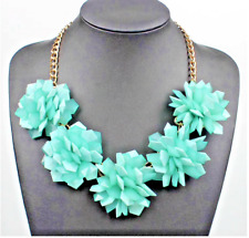 Absolutely Fabulous Stunning Zara Aqua  3D Statement Necklace