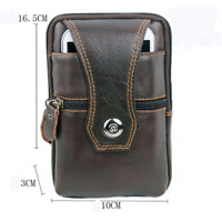 Men Vintage Leather Zipper Belt Waist Bag Business Wallet Phone Case Card Holder