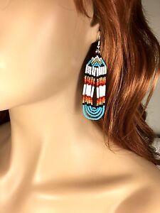 BLUE WHITE RED SEED BEADED HANDMADE EARRINGS E23/1