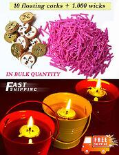 10 floating corks + 1.000 Wicks -Oil Candle Light, DIY, for Meditation, In Bulk