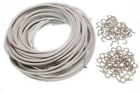 9 METRE LENGTH OF CURTAIN WIRE WITH 9 HOOKS AND 9 EYES - by OneStopDIY