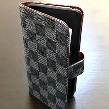 Samsung Galaxy S8+ PLUS - Card Wallet Diary Pouch Case Blue Black Checker Plaid