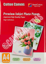 100 Inkjet Cotton Canvas Quality 10 Sheets Pack A4 Size UK